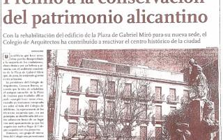 Premio conservación patrimonio Alicantino